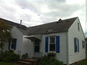 wind damaged shingle roof