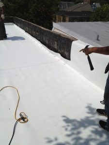 TPO flat roof on a row house
